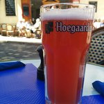 Hoegaarden Rose on the patio of Cafe Gaby