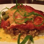 Course 2/5 - Salmon atop risotto with capers