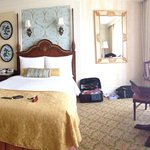 Our room - the beds are between a single & double size & very firm