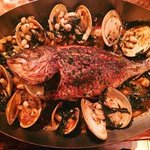 Whole Fish with clams and cannellini beans