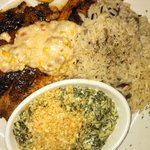 Tilapia Orleans, wild rice pilaf, creamed spinach