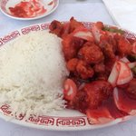 Sweet and sour pork with white rice
