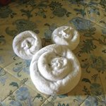mickey towel on our bed