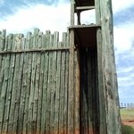 Replica of one of the towers and stockade fence