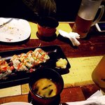 Sushi rolls with miso soup
