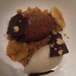 Chocolate pate and banana sorbet