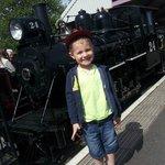One happy little rail-fan!