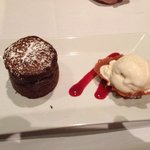 Chocolate fondant sampler dessert.