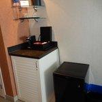 fridge and coffee/tea maker