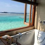 View from our water bungalow's tub