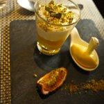 Pistachio & passionfruit mousse..... light as a feather & such fresh flavors