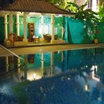 Pool and courtyard in the evening