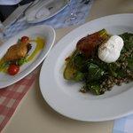 Feta pannée et salade de lentilles