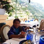 Caffe Positano - table w/ a view. (Face blurred 4 privacy)