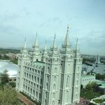 view of the Temple from Joseph Smith building