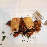 Tasting Menu Course 1: Stuffed warm rolls of ricotta cheese, mortadella and egg plant ragù