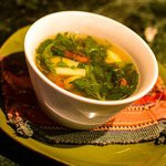 Bowl of fresh organic vegetable soup with lunch