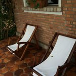 Lounge chairs outside the bungalow