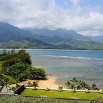 View from the hotel to Hanalei Bay.