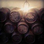 Impressive tasting room lined with oak casks