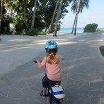 Riding to breakfast - training wheels on hand!