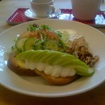 Gluten free open sandwich with cream cheese, walnuts and apple