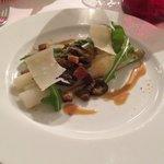 asperges aux morilles, parmesan, sauce orange