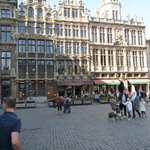 View of Grand Place on Sunday 2, showing restaurants at one end with outdoor seating