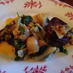 Tasty tongue with tender artichoke hearts, taters, and purslane