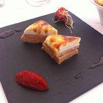 Foie gras con queso de cabra.........