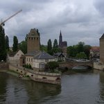 The covered bridges and the cathedral from the Barrage Vauban