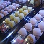 Beautiful mochi sweets and restaurant decor