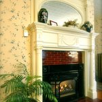 one of the ornate fireplaces at the inn