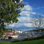 Camden harbor view with schooners