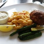 Crab cake with lobster mac and cheese with zucchini