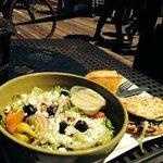 A classic Greek salad with flatbread
