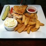Grilled Chicken and Pesto Panini with Fries