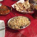 kadhi paneer and dal tarka with jeera rice and garlic naan