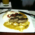 Steak, grits and a mango mojito