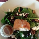 Pomegranate dressing was the perfect complement to the salmon salad.