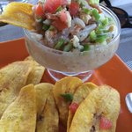 Ceviche at lunch with plantain chips