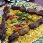 Lamb Kebob, Saffron Rice with veggies