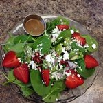Spinach strawberry salad with pomagranate!