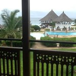 The pool bar and the sea behind it
