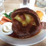 Roast beef with Yorkshire pudding and veggies