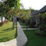 jardín y habitaciones
