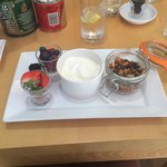 Granola with fresh fruit and yogurt, my favourite at this place!