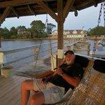 David in hammock on hotel pier/gazebo