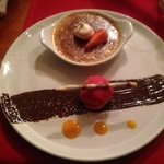 Creme Brulee and Rasberry Sorbet - DELICIOUS!