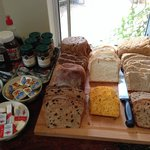 The bread is yummy, made by the owner himself! Good variety of jams from The Berry Farm